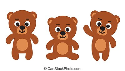 Cute funny teddy bear emoji standing, sitting, waiving - set of three bears cartoon vector illustrations