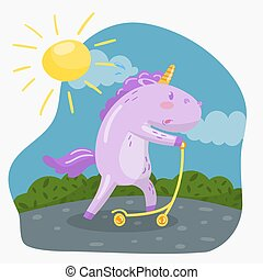 Cute funny unicorn riding kick scooter in sumer day vector...