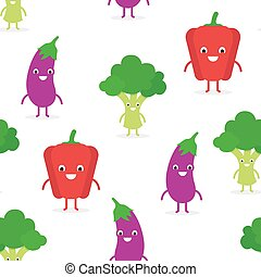 Cute funny vegetables seamless pattern