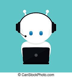 Cute funny white robot, chat bot .Vector