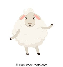 Cute funny white sheep character vector Illustration