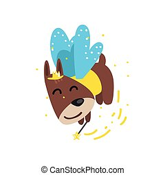 Cute funny winged dog with a magic wand, fantasy fairy tale animal cartoon character vector Illustration