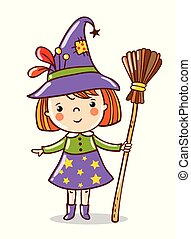 Cute funny witch stand on a white background.