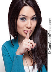 Cute funny woman keeping a secret - Cute funny young woman...