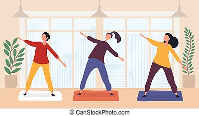 Cute funny women practicing yoga together