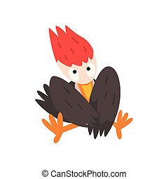 Cute funny woodpecker bird cartoon character sitting with folded wings vector Illustration on a white background
