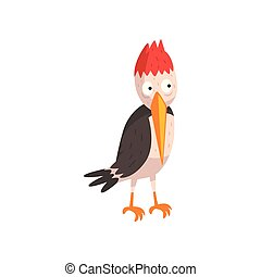 Cute funny woodpecker bird cartoon character vector Illustration on a white background