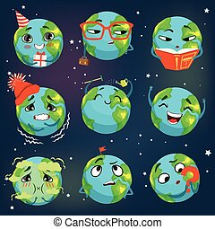 Cute funny world Earth emoji showing different emotions set of colorful characters vector Illustrations