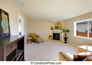 Cute light furnished living room with a fireplace