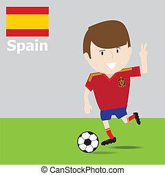 cute, futebol, player., espanha
