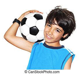 cute, futebol, tocando, menino