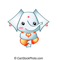 Cute Ganesha - Cute indian elephant god Ganesha isolated