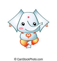 Cute Ganesha - Cute indian elephant god Ganesha isolated