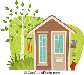 Cute Garden Shed - clip-art of a small garden shed with tree...