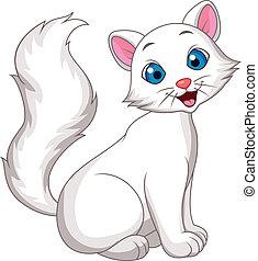 cute, gato branco, caricatura, sentando