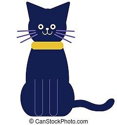 cute, gato branco, ilustração, apartamento