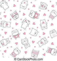 cute, gatos, corações, padrão