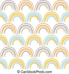 Cute geometric rainbow pattern. Hand drawn vector seamless background in bright colors. Summer design.