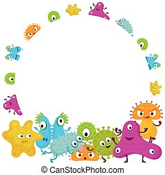 Cute Germ Characters Frame and Border - Bacteria, Virus,...