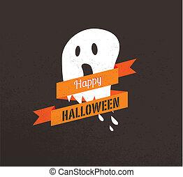 cute, ghost., cartaz, dia das bruxas, ilustração, vetorial
