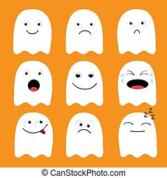 Cute ghost. Emoji icon set. Happy Halloween. Emoticons. Funny kawaii cartoon characters. Emotion collection. Happy, surprised, smiling crying sad angry face head. Flat design Orange background