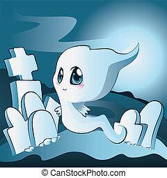 Cute ghost on cemetery