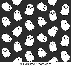 Seamless pattern of adorable cartoon ghosts on black background.