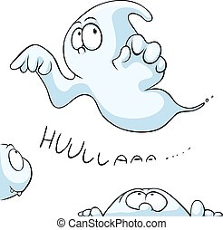 cute ghost peeking isolated on white background - vector cartoon illustration
