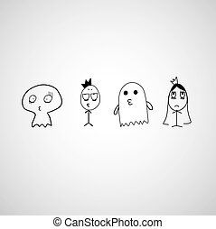 cute ghost vector hand drawn