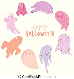 Cute ghosts in pinks with Happy Halloween typography - Cute ...