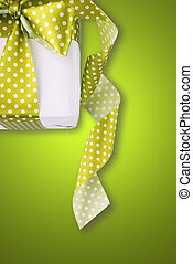 Cute gift on green background
