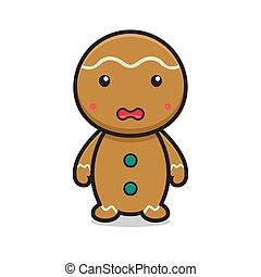 cute gingerbread cartoon character flat face