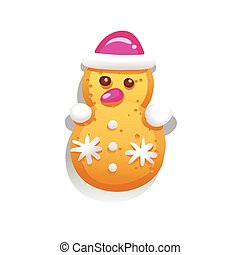 Cute gingerbread cookies for christmas in the form of a snowman. Isolated on white background. Vector illustration