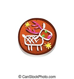 Cute gingerbread cookies for christmas with a Christmas deer. Isolated on white background. Vector illustration