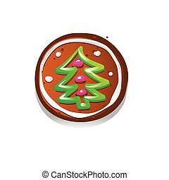 Cute gingerbread cookies for christmas with a Christmas tree. Isolated on white background. Vector illustration