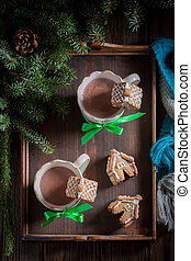 Cute gingerbread cottages with hot chocolate for Christmas