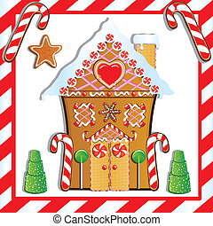 Gingerbread House - Cute Gingerbread House with gumdrop...