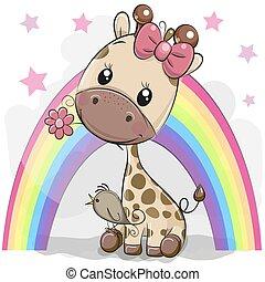cute, girafa, caricatura, flor