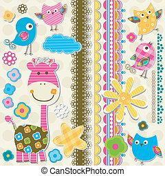 cute, girafa, pássaros