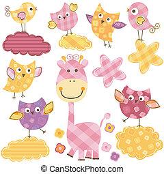 cute, girafa, pássaros, &