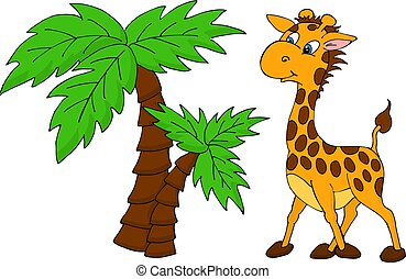 Cute Giraffe and palm tree. Vector illustration