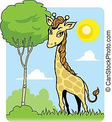 Cute Giraffe and Tree
