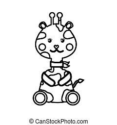 cute giraffe animal icon