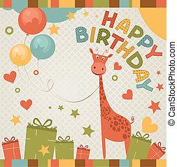 cute, giraffe., cartão aniversário, feliz