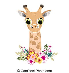 Cute giraffe cartoon isolated on white background.
