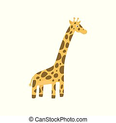 Cute giraffe character in flat style. theme. Cartoon wild animal with long neck and spotted body. Flat vector design for poster, children education card or sticker