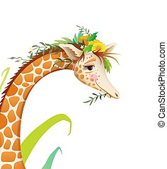 Cute Giraffe Detailed Face Portrait in Nature