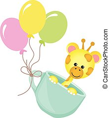 Cute giraffe in teacup with balloons