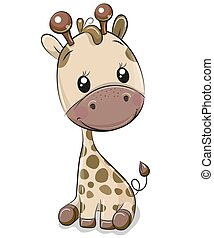 Cute Giraffe isolated on a white background