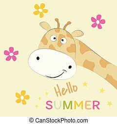 Cute giraffe on a yellow background